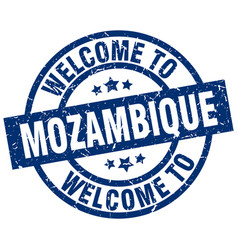 Welcome to mozambique blue stamp vector