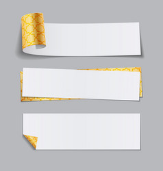 Set of golden paper banners with arabic pattern vector