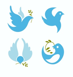 Set of symbols dove of peace vector
