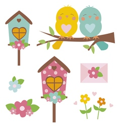 Spring set with birds vector