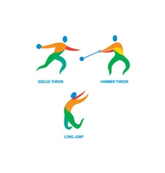 Hammer throw discus throw long jump icon vector