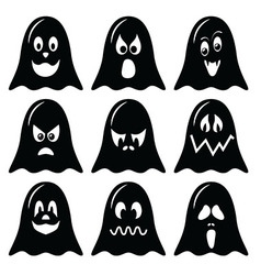 Scary halloween ghosts characters icons set in b vector