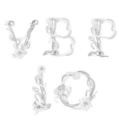 floral font letter v b p i o vector image