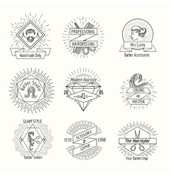 Hairdressing salon logo set in vintage hipster vector