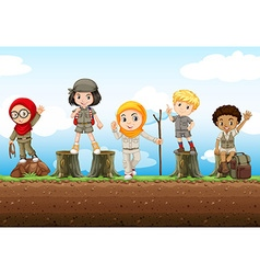 Children standing on logs vector