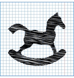 Horse toy icon with pen effect on paper vector
