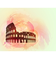 Coliseum ruin silhouette background vector