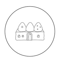 Beehive house icon in outline style isolated on vector