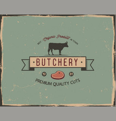 butchery shop typography poster template in retro vector image vector image