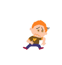 cartoon character boy sick vector image vector image