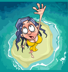 cartoon scared woman falls on the islet in the sea vector image vector image