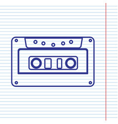 Cassette icon audio tape sign navy line vector