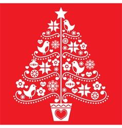 Christmas tree design - folk style with birds vector image