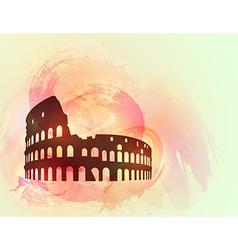 Coliseum ruin silhouette background vector