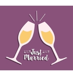 Cups of champagne and wedding design vector