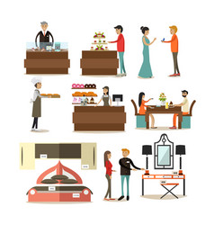Flat icons set of shop interior buyers and vector
