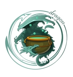 Ghostly dragon guards the cauldron of potion vector image