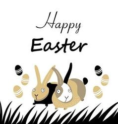 Graphic Easter greeting card with bunnies and egg vector image vector image