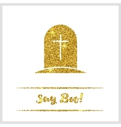 Halloween gold textured tombstone icon vector