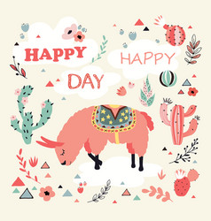 happy lama card vector image vector image