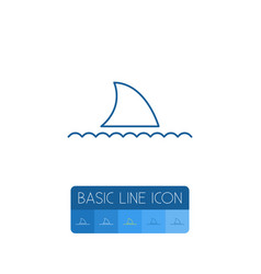 isolated shark outline fish element can be vector image