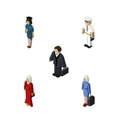isometric human set of seaman female policewoman vector image