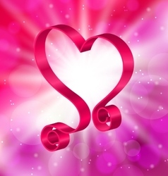 Looping Pink Ribbon in Form Heart for Happy vector image vector image