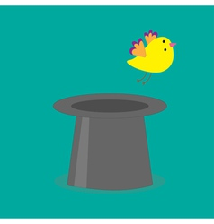 Magic black hat with yellow flying bird flat desig vector