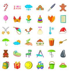 Mom day icons set cartoon style vector