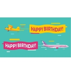 Plane flying with happy birthday banners vector
