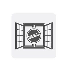 Quality control at home icon with window sign vector