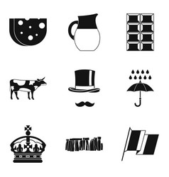Region icons set simple style vector