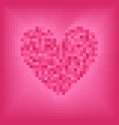 Rose pixel heart on pink background vector