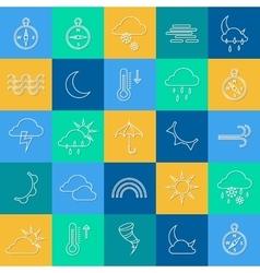 Set of outline weather icons Sunshine rain wind vector image