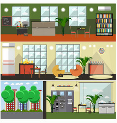 set of university interior posters banners vector image