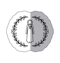 Sticker slhouette arch of leaves and nun with vector
