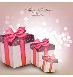 Vibrant christmas background with gift boxes vector