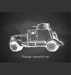 vintage armored car on blackboard vector image vector image