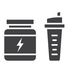 whey protein with sports shaker glyph icon vector image