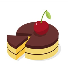 Chocolate cake with fresh cherries piece of vector