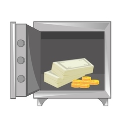 Money in iron safe vector