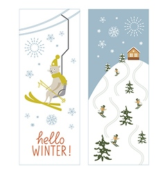 Christmas banners ski resort vector
