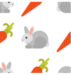 Flat style seamless pattern with rabbit and carrot vector