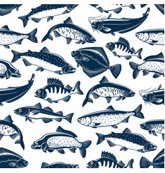fishes sketch seamless pattern vector image