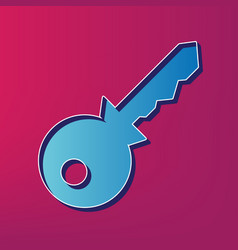 key sign   blue 3d printed vector image