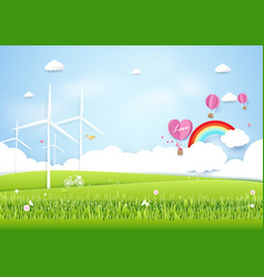 Ecology concept with green city and trees paper vector