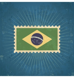 Retro brazil flag postage stamp vector