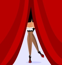Feet and red curtain vector