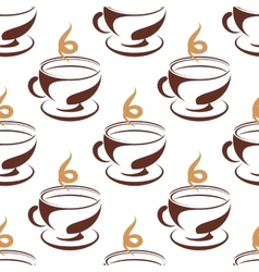 Steaming cup of coffee seamless pattern vector image