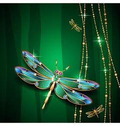 Dragonfly green vector
